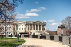 美国国会大厦大厦西部门面在白天 库存照片