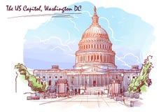 美国国会大厦的全景 在白色背景的被绘的剪影 EPS10向量例证 向量例证