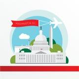 美国国会大厦-美国的标志华盛顿特区 与红色丝带的葡萄酒邮票 免版税库存图片