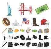 美国国家动画片,在集合收藏的黑象的设计 旅行和吸引力传染媒介标志股票网 皇族释放例证