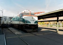 美国国家铁路公司在波特兰落下火车 免版税库存图片