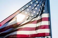 美国国旗剪影  图库摄影