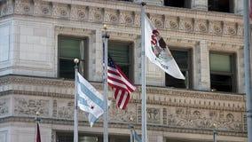 美国国旗和伊利诺伊州旗子在风骄傲地飞行 股票录像