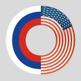 美国国旗和俄罗斯联邦旗子collabor 库存图片