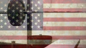美国国旗和卷毛酒吧 股票视频