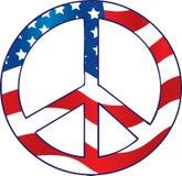 美国国旗和平标志 免版税库存照片