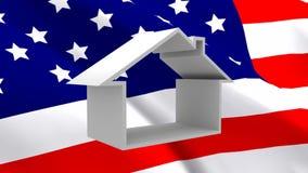 美国国旗和房子 库存例证