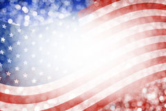 美国国旗和bokeh抽象背景设计7月4日 库存照片