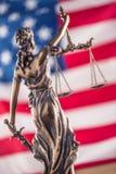 美国国旗夫人Justice和 法律和正义的标志与U 图库摄影