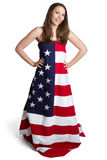 美国国旗女孩 图库摄影