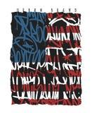 美国国旗布鲁克林纽约迈阿密加利福尼亚街道画无缝的样式, T恤杉图表 库存例证