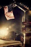 美国国旗救火车 库存照片
