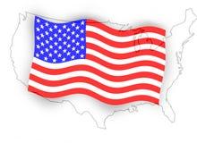 美国国旗映射 免版税库存图片