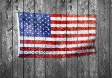 美国国旗木头背景 免版税库存图片