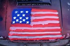 美国国旗汽车街道画 库存照片