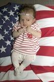 美国国旗的女婴 免版税图库摄影