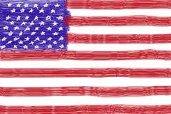 画美国国旗的孩子 免版税库存照片