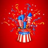 从美国国旗的爆竹 库存图片