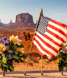 美国国旗纪念碑谷 库存图片