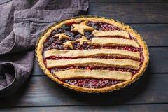 美国国旗莓果饼,顶视图 美国概念美国独立日  库存照片
