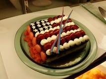 美国国旗蛋糕 库存图片