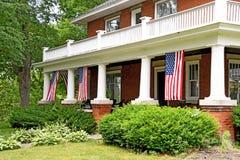 美国国旗装饰前沿 库存图片