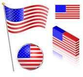 美国国旗集合 免版税图库摄影