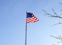 美国国旗飞行和滚滚向前在风 免版税库存照片