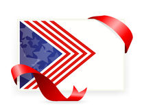 美国国旗,与丝带的名片 库存照片