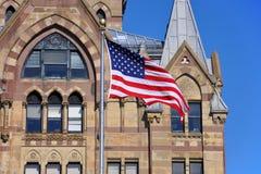 美国国旗,西勒鸠斯,纽约,美国 库存照片