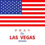 美国国旗 为拉斯维加斯内华达祈祷 对恐怖主义攻击在LV 2017年10月1日的大量射击的受害者的进贡 支持为 库存例证