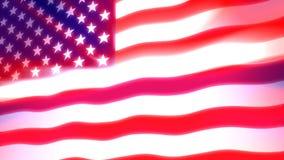 美国国旗+发光的光 向量例证