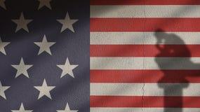 美国在与思想家和门阴影的混凝土下垂 免版税库存图片