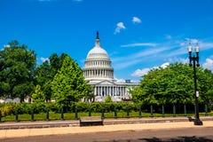 美国在华盛顿特区的国会大厦大厦-著名美国地标的东部门面 免版税库存照片