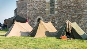 美国在城市安定的帐篷战士 图库摄影