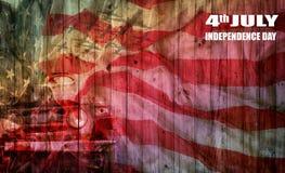 美国在木板材,背景下垂为7月第4 Independens 免版税图库摄影