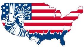 美国在白色隔绝的摘要地图 免版税库存照片