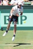 美国在戴维斯杯期间的网球员约翰・伊斯内尔对澳大利亚 免版税库存图片
