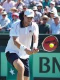 美国在戴维斯杯期间的网球员约翰・伊斯内尔选拔反对澳大利亚 免版税图库摄影