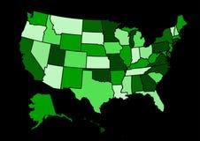 美国地图传染媒介例证 免版税库存图片