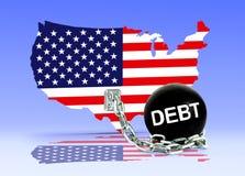 美国地图和债务球 免版税库存照片