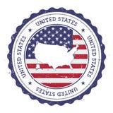 美国地图和旗子在葡萄酒橡胶 免版税库存图片
