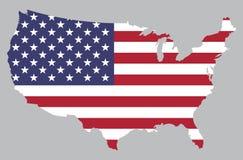 美国地图旗子 库存图片