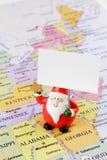 美国地图的圣诞老人 库存图片