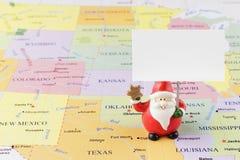 美国地图的圣诞老人 库存照片