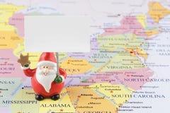 美国地图的圣诞老人 图库摄影