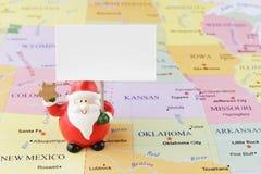 美国地图的圣诞老人 免版税库存图片