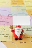 美国地图的圣诞老人 免版税图库摄影