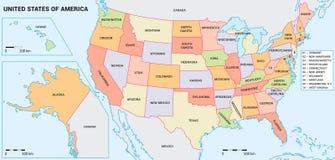 美国地图以联邦政府 免版税库存照片