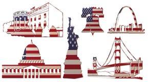美国地标(旗子) A 库存例证